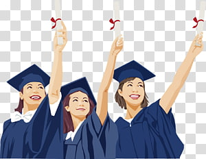 tiga wanita memegang ilustrasi ijazah, upacara Wisuda Karir Resume Akademik gaun Pascasarjana Universitas, musim kelulusan Orang png