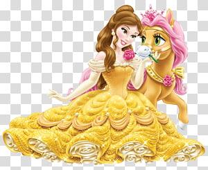 Belle Rapunzel Ariel Fa Mulan Putri Jasmine, Disney Princess Belle dengan Cute Pony, Belle with horse png