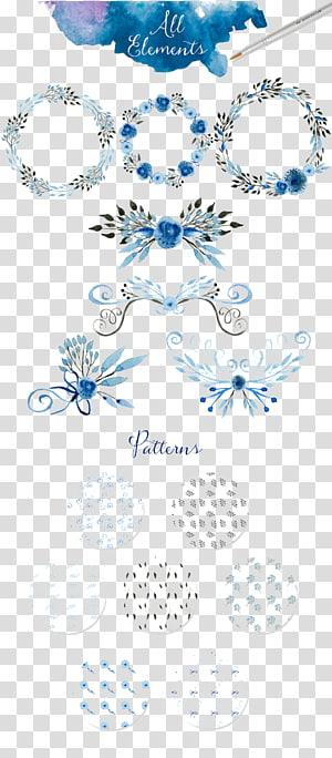 ilustrasi dekorasi bunga bulat abu-abu dan teal, lukisan cat air undangan pernikahan, semua jenis perbatasan karangan bunga yang indah PNG clipart
