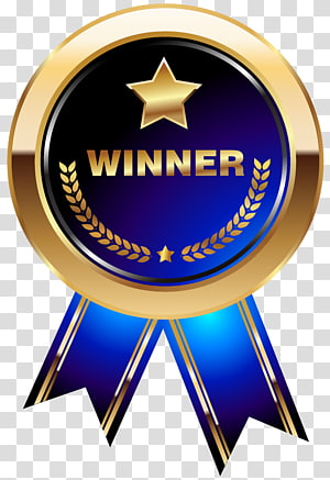 ilustrasi pita pemenang biru dan emas, Medali Trophy, Pemenang Medali Biru png