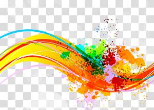 Lukisan Cat Air Tinta, garis warna dinamis, latar belakang beraneka warna png