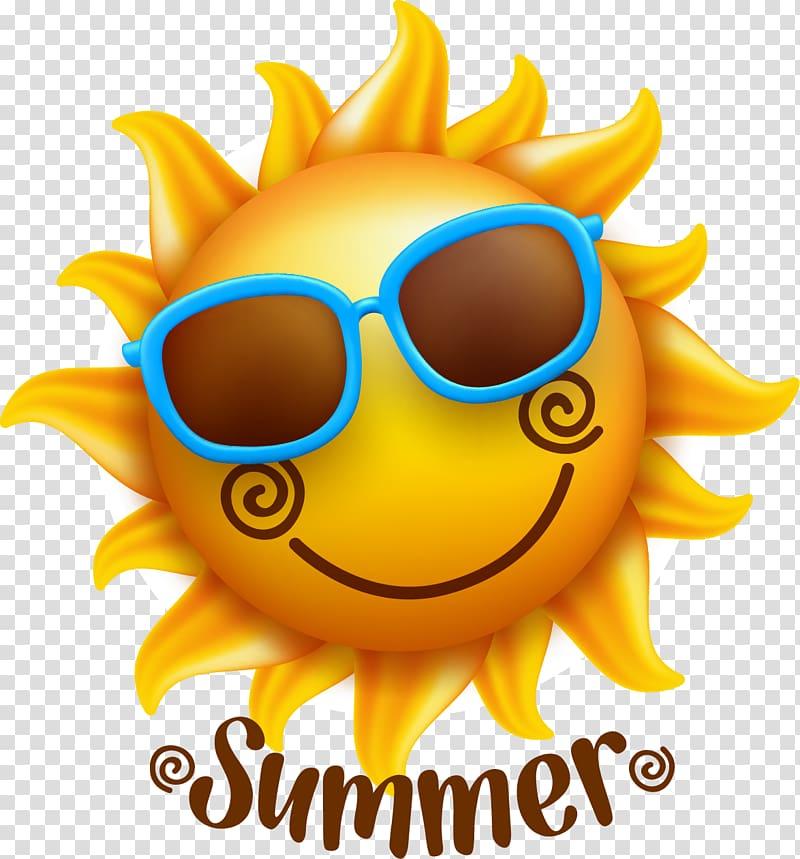 matahari dengan ilustrasi kacamata hitam, Ilustrasi Wajah Tersenyum, Matahari musim panas PNG clipart