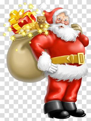 Santa Claus Ayah Natal, Santa Claus dengan Hadiah, ilustrasi Santa Claus png