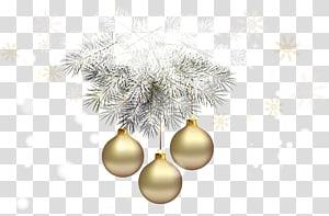 Hiasan Natal Hiasan Natal Pohon Natal, Bola Natal Emas dengan Pinus Perak, tiga pernak-pernik emas PNG clipart