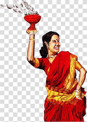 seorang wanita memegang terengah-engah vas merah, Durga Puja Dhunachi Drawing, puja png