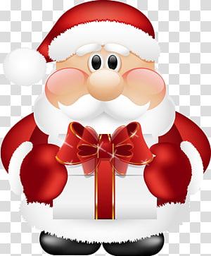 Santa Claus Santa sesuai Natal, Santa Claus Lucu dengan Hadiah, Santa Claus memegang ilustrasi kotak hadiah png