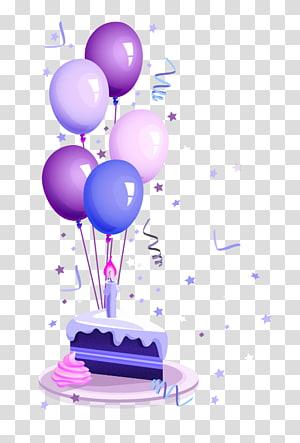 Kue ulang tahun Selamat Ulang Tahun untuk Pesta Anda, Kue ulang tahun, balon ungu, merah muda, dan biru dengan sepotong kue dan lilin png