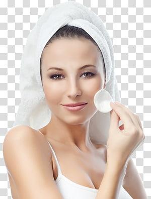 wanita memegang makeup pad, kosmetik salon kecantikan spa wajah wajah, alami PNG clipart