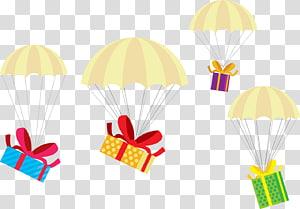 empat ilustrasi kotak hadiah menggantung warna-warni, hadiah Natal hadiah Natal, kotak hadiah parasut png