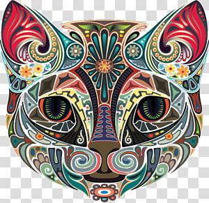 Kaos Kucing Cat-on, binatang berwarna, seni kucing warna-warni png