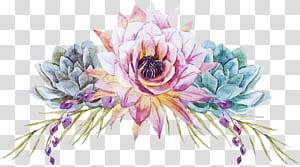 Lukisan cat air Desain bunga Bunga Pernikahan, Bunga yang dilukis dengan tangan, ilustrasi bunga merah muda dan teal PNG clipart