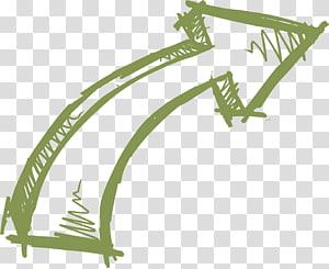 Menggambar Panah Kurva Euclidean, Garis panah digambar tangan, ilustrasi panah hijau PNG clipart