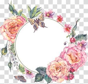 Bunga Desain bunga Garland, karangan bunga yang dicat, ilustrasi piring keramik putih bermotif bunga png