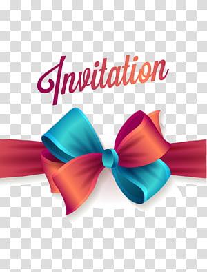 Undangan pernikahan Pesta Ulang Tahun Microsoft PowerPoint, Undangan pita merah dan biru, Template undangan png
