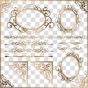 Bingkai ornamen Euclidean, pola perbatasan emas Eropa, latar belakang biru dengan hamparan teks png