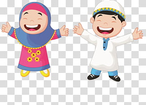 Muslim Kartun Ilustrasi Anak, siswa Muslim, anak laki-laki dan perempuan mengangkat tangan png