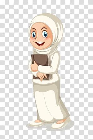 wanita memegang ilustrasi buku, Ilustrasi Muslim Islam, Belajar Islam png