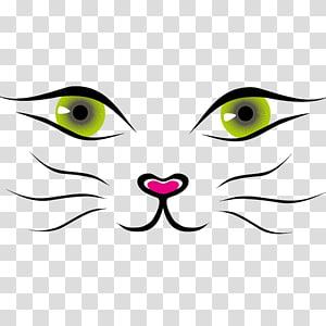 ilustrasi mata dan hidung kucing, Kartun Kucing, Bahan wajah kucing imut png