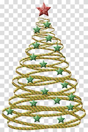 pohon Natal emas, hiasan pohon Natal Natal, Pohon Natal Emas dengan Bintang Hijau PNG clipart