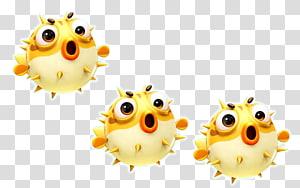 tiga karya seni ikan kuning, kartun ikan kecil yang dilukis dengan tangan yang lucu png