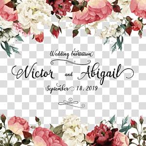 Undangan pernikahan, Kartu ucapan ulang tahun bunga, Tanaman bunga, Pernikahan cat air, Bunga putih dan merah muda dengan Victor dan abigail hamparan teks png