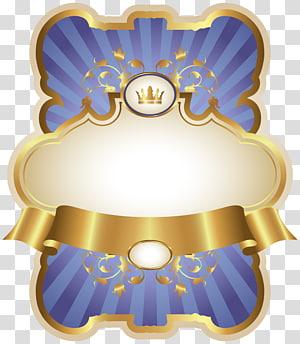 Blue Gold Paper, Gold dan Blue Luxury Label Template, karya seni emas dan biru PNG clipart