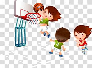 tiga orang bermain basket, Kartun Basket Olahraga, anak-anak bermain PNG clipart