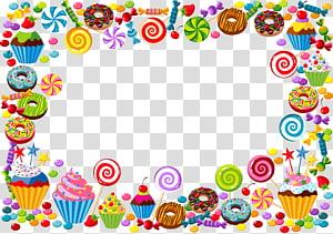 Candy cane Bonbon Gummy bear, border candy, bingkai makanan penutup warna-warni png