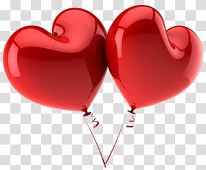 Balon Jantung Merah, Balon Hati Merah Besar, dua ilustrasi balon merah berbentuk hati png