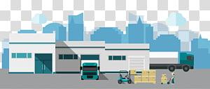 truk di gedung depot dengan orang yang menggunakan lift palet di luar ilustrasi digital, Gudang Euclidean Logistics Factory, gudang png