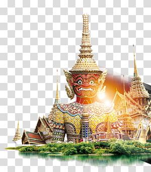 ilustrasi patung dewa berwarna kuningan, arsip Komputer Istana Besar, Buddha Thailand png