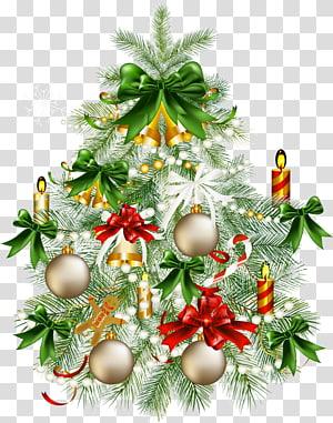 Pohon Natal, Pohon Natal Bersalju dengan, Pohon Natal dengan ilustrasi ornamen PNG clipart