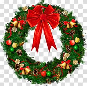 Karangan Bunga Natal, Karangan Bunga Natal dengan Red Bow, karangan bunga Natal hijau dan merah PNG clipart