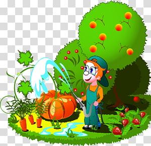 Cartoon Farm Orchard Ilustrasi, Menanam buah-buahan dan sayuran png
