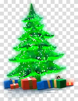 pohon Natal hijau, hadiah Natal pohon Natal Hari Natal, Pohon Natal Luminous dengan Hadiah PNG clipart