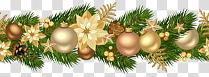 emas dan hijau Natal garland, kartu Natal ornamen pesawat Horisontal, Natal Garland Dekoratif Emas png
