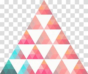 merah muda, putih, dan segitiga geometris hijau, Ilustrasi Segitiga, Segitiga PNG clipart