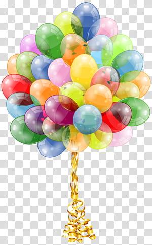 Kue Ulang Tahun Balon, Hadiah Pesta, Balon Bunch, ilustrasi balon multi-warna png