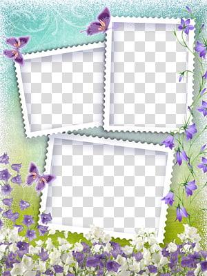 ilustrasi bunga campanula putih dan ungu, Pola bingkai digital, Latar belakang bingkai gaya manis png