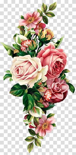 Buket bunga, Tumbuhan botani floral vintage, Bebas, pink, merah, dan putih, merangkai bunga mawar png