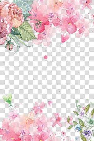 Bunga merah muda Kertas Bunga merah muda Mawar, yang dilukis dengan tangan bunga merah muda bunga latar belakang dekoratif, ilustrasi bunga petaled merah muda png