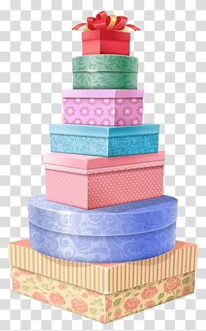 ilustrasi kotak hadiah berbagai macam warna, Menara Hadiah png
