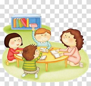 empat anak di samping seni meja, Emile, atau Pekerjaan Rumah Pendidikan, Anak-anak mengerjakan pekerjaan rumah png