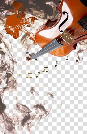 biola coklat dan hitam, Tinta mencuci lukisan Poster Musik, Asap di sekitar catatan biola png