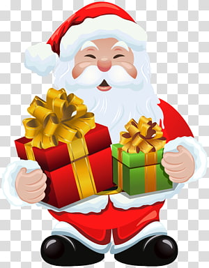 Santa Claus memegang hadiah, Hadiah Santa Claus Natal, Santa Claus dengan Hadiah png