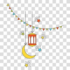 Agama Idul Adha, unsur dekoratif tahun baru budaya Islam Flat, bulan sabit dan ilustrasi lampu merah png