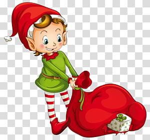 Peri Elf di Rak Natal, Peri Elf dengan Santa Bag, bocah laki-laki memegang ilustrasi tas merah png
