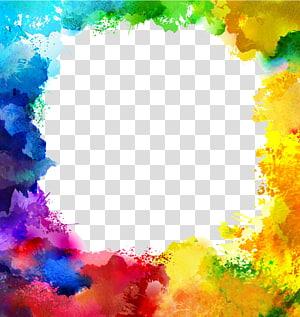 lukisan abstrak warna-warni, ilustrasi lukisan Cat Air Ilustrasi, batas warna perbatasan tinta warna-warni png
