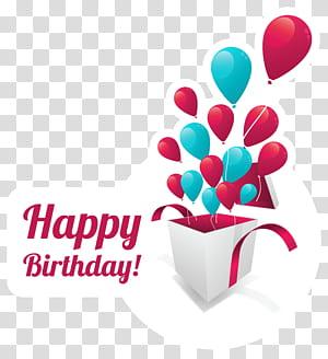 Kue ulang tahun, Hadiah kartu ucapan, Stiker Teks Selamat Ulang Tahun, balon dengan hamparan teks selamat ulang tahun png