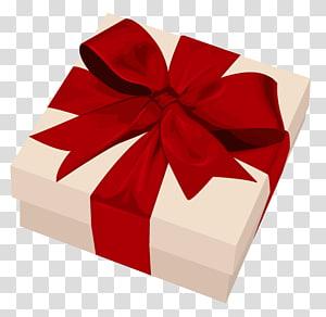 kotak coklat dengan ilustrasi pita merah, Hadiah Hari Valentine, Kotak Gixt png